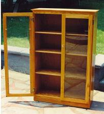 Oak Bookcase W Gl Doors